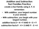 addition and subtraction fact families practice