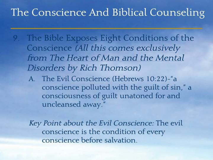 The Bible Exposes Eight Conditions of the Conscience