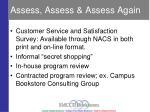 assess assess assess again