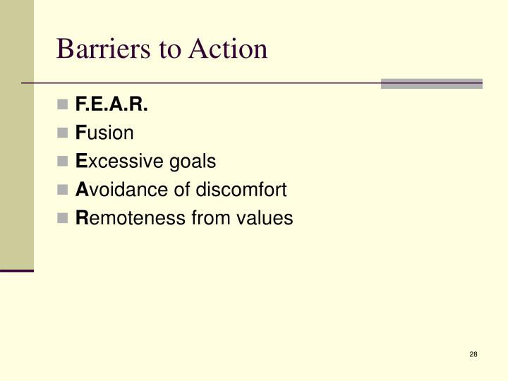 Barriers to Action