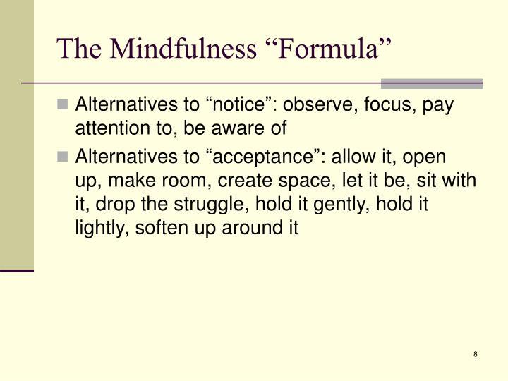 "The Mindfulness ""Formula"""