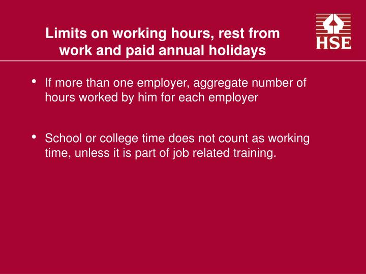 Limits on working hours, rest from work and paid annual holidays