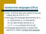 context free languages cfls