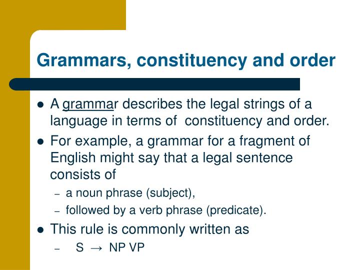grammars constituency and order n.