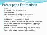 prescription exemptions
