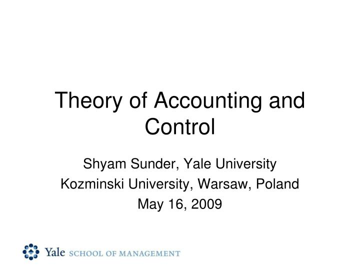theory of accounting and control n.