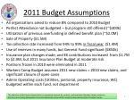 2011 budget assumptions
