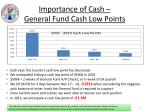 importance of cash general fund cash low points