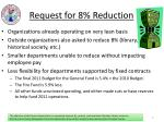 request for 8 reduction