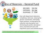 use of reserves general fund