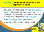 analysis examine the structure of the argument in detail