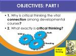 objectives part i