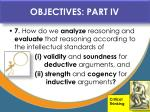 objectives part iv