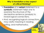 why is translation a key aspect of critical thinking