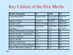 key criteria of the flex mechs