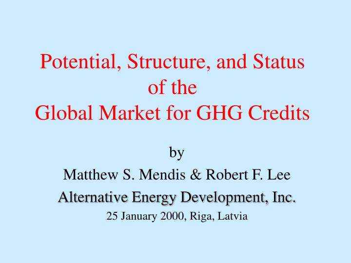 potential structure and status of the global market for ghg credits n.
