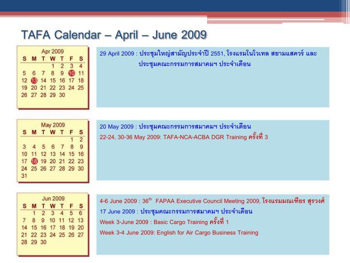 Tafa calendar april june 2009
