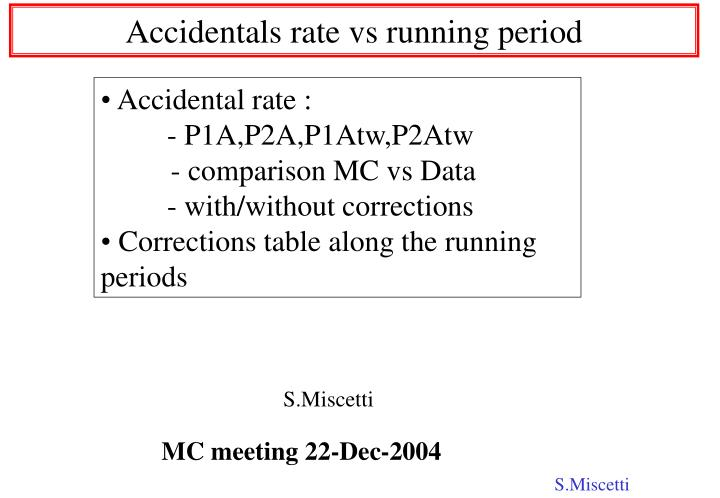 accidentals rate vs running period n.