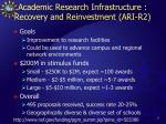academic research infrastructure recovery and reinvestment ari r2