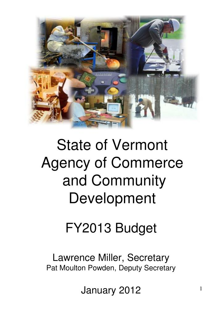state of vermont agency of commerce and community development n.