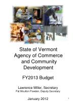 state of vermont agency of commerce and community development