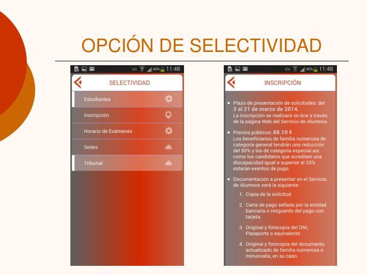 OPCIÓN DE SELECTIVIDAD