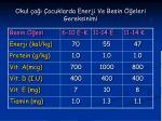 okul a ocuklarda enerji ve besin eleri gereksinimi
