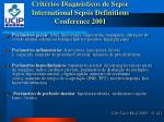 crit rios diagn sticos de sepse international sepsis definitions conference 2001