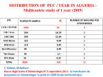 distribution of puc year in algeria multicentric study of 1 year 2009