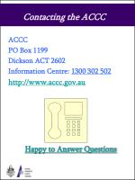 contacting the accc
