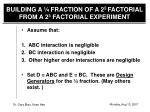 building a fraction of a 2 5 factorial from a 2 3 factorial experiment