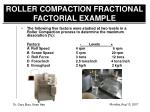roller compaction fractional factorial example