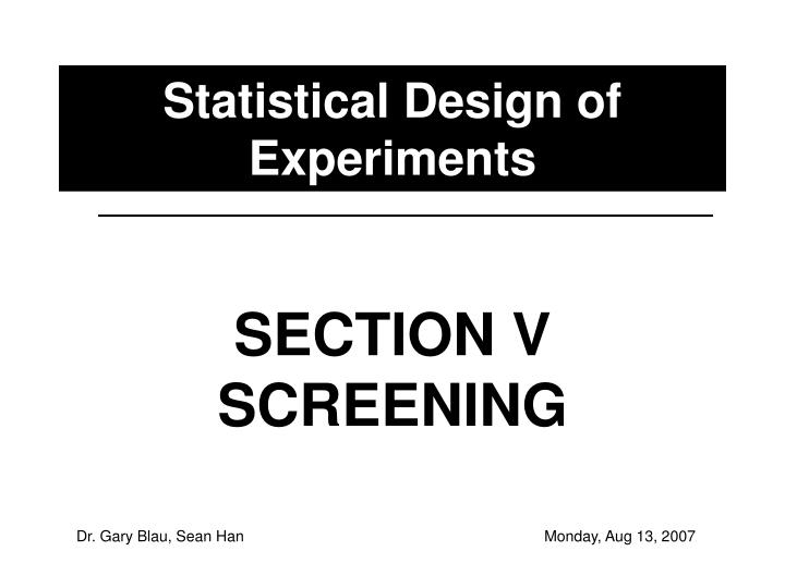 statistical design of experiments n.