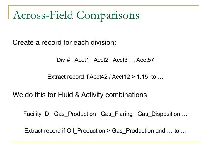 Across-Field Comparisons