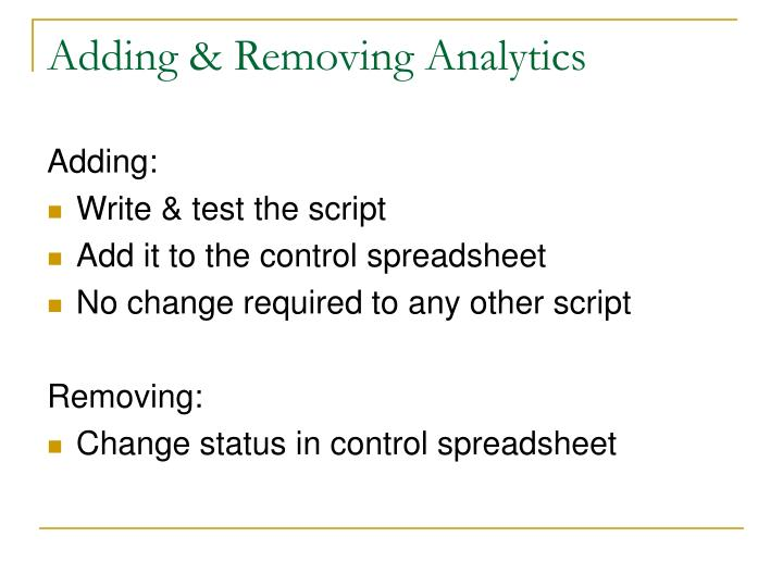 Adding & Removing Analytics