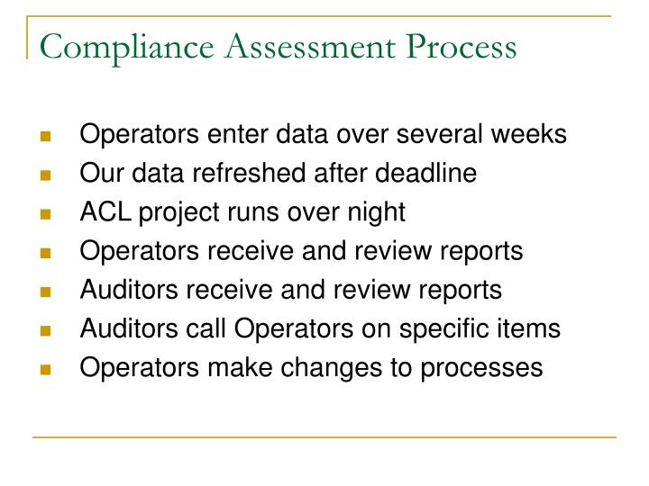Compliance assessment process