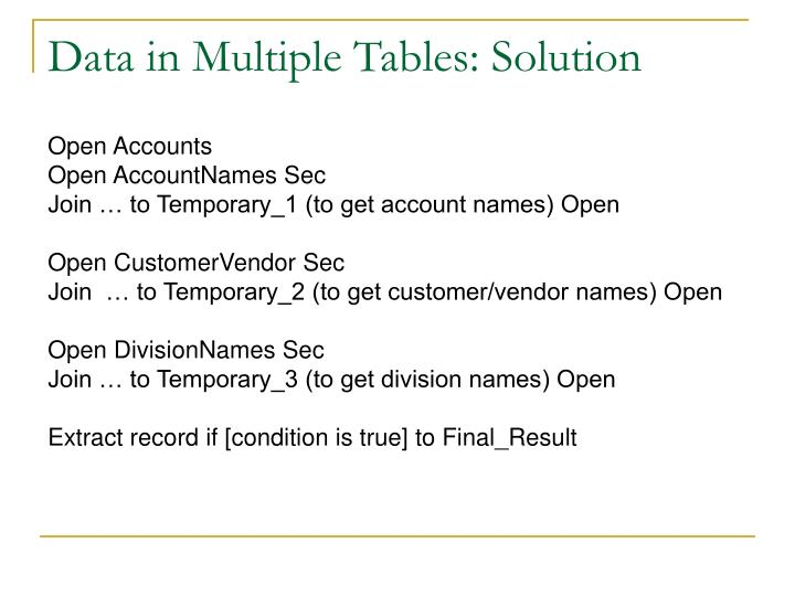 Data in Multiple Tables: Solution