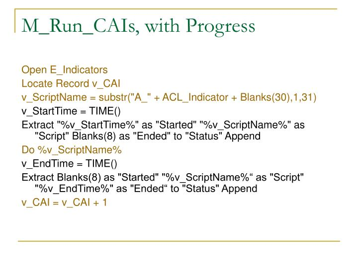 M_Run_CAIs, with Progress