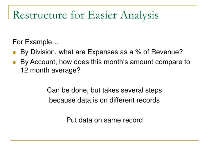 Restructure for Easier Analysis