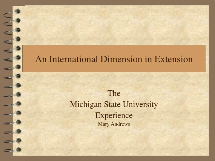 an international dimension in extension n.