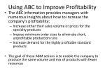 using abc to improve profitability
