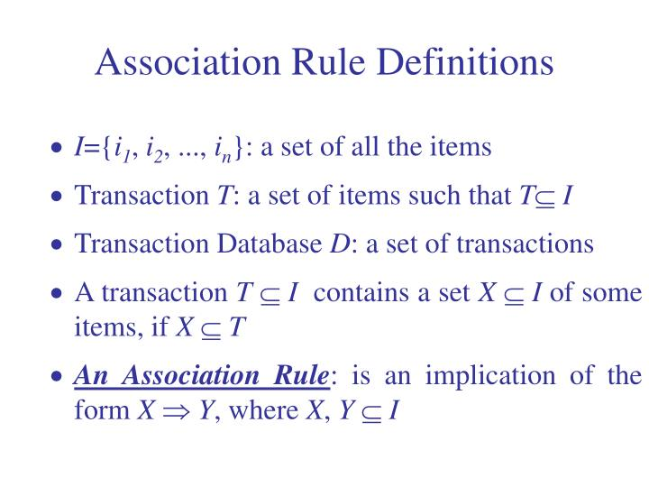 Association Rule Definitions