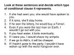 look at these sentences and decide which type of conditional clause it represents