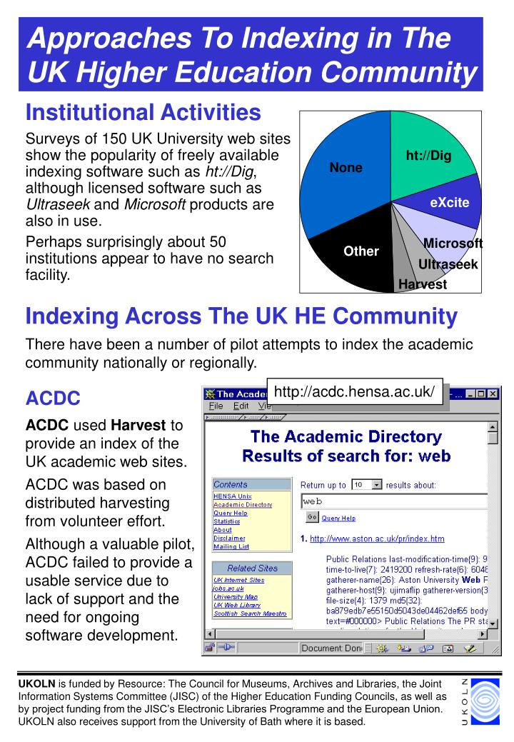 approaches to indexing in the uk higher education community n.