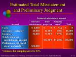 estimated total misstatement and preliminary judgment