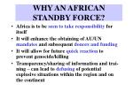 why an african standby force