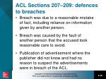 acl sections 207 209 defences to breaches