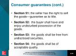 consumer guarantees cont