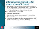 enforcement and remedies for breach of the acl cont