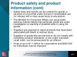 product safety and product information cont